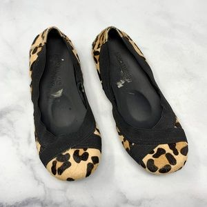 Adam Tucker Leopard Calf Hair Ballet Flats Boho 6